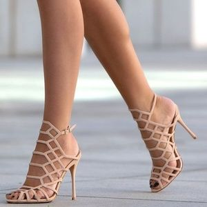 Schutz Juliana Caged Sandals Heels Pumps Natural
